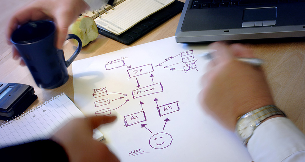 Business meeting with diagram plan being drawn